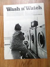 "1966 Sony TV Wash n' Watch Ad 9"" Anyplace Sony-TV Television"