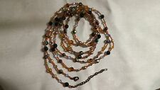 """LONG!!! Joan Rivers Blue AB Crystal Brown Seed Bead 98"""" Necklace"""