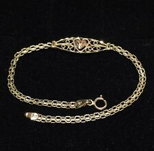 New 14K Solid Yellow Gold Heart Bracelet / Ankle 7.5""