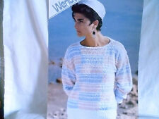 """Vintage Wendy Women's Striped Sweater size 30"""" to 40""""  Knitting Pattern No 2669"""