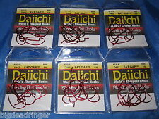 6 Packs Daiichi 1/0 Fat Gap Worm Hooks Red Bait Extra Wide Gap Finesse Worm