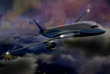 Framed Print - Boeing 747 Flying in the Midnight Sky (Picture Poster Art Plane)