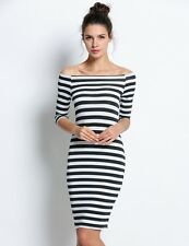 "ALLISON"" BEAUTIFUL BLACK  WHITE STRIPE SIZE 10-12 OFF THE SHOULDER STRETCH DRESS"