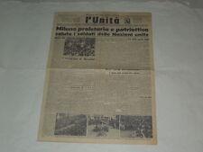 """FASCISMO GIORNALE L'UNITA' """"MILANO PROLETARIA E PATRIOTTICA SALUTA I SOLDATI """""""