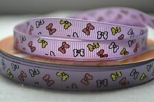 "10mm (3/8"") LILAC w/ MULTI-COLOURED BOWS grosgrain ribbon 3mtrs for crafts"