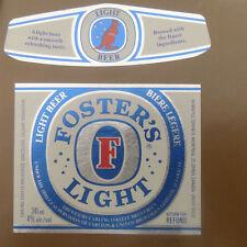VINTAGE CANADIAN BEER LABEL - CARLING O'KEEFE BREWERY, FOSTERS LIGHT