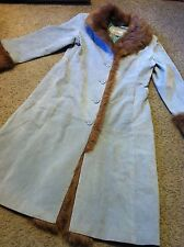 Women's size S Small Wilson's Leather Maxima blue suede long trench coat fur