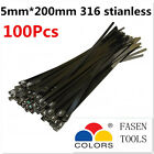 100PCS 5x200mm Stainless Steel Cable Zip Ties--Exhaust Wrap Coated Locking