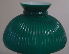 "NEW 10"" Painted Green on Opal Ribbed Oil Student Table Glass Lamp Shade #SH001"