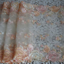 1 Meter Floral Embroidery Tulle Lace Trim Cream & Powder Pink Rose Flower - 23cm