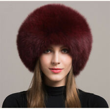 Women Real Burgundy Fox Fur Hat Russian Winter Warm Ear Cap Ushanka Cossack Ski