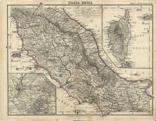 Carta geografica antica ITALIA CENTRALE CORSICA ELBA 1876 Old antique map