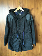 RRP £160 G-STAR RAW PARKA Mac Trench Jacket Black Hooded MEDIUM / UK 12 / 40 VGC
