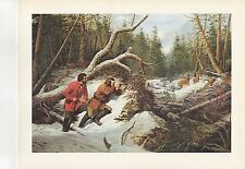 "1972 Vintage HUNTING ""FIRST SNOW, 1855"" LONG GUN DEER HUNTERS Color Lithograph"