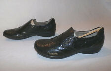 Naturalizer Women's Clarissa Slip-On Loafer Shoes Shiny Black Croco Sz 9.5N $79