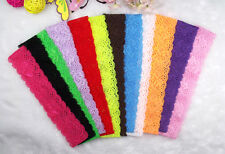 "24pcs Baby Girl Kids Stretch 1.4"" Lace Elastic Headbands for Hair Bows Clips"