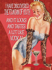 Fountain of Youth Vodka, Funny Vintage Pin up Girl Drink, Small Metal/Tin Sign