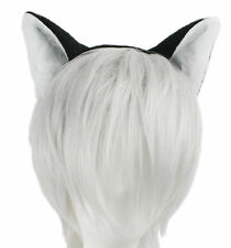 Black Cat with White Faux Fur Ears Flexible Headband Cosplay Anime NEW One Size