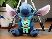 """Disney Lilo Stitch with SCRUMP 24cm 9.6"""" Soft Stuffed Plush Toy Doll Loose"""
