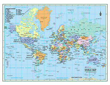 """WORLD Wall Map Political Poster 32""""x24""""  LARGE PRINT Laminated 2017"""