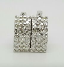 14k White Gold 1.44 Ct Genuine Round Brilliant Diamond Cluster Huggie Earrings