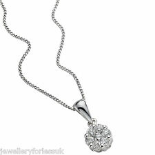 """18Carat White Gold & Diamond Daisy Cluster Pendant 0.18cts on 16""""Chain Necklace"""