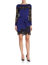 NWT DVF Diane von Furstenberg Ernestina Lace trim dress ultra marine blue size 6