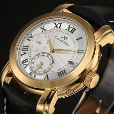 KS Luxury Black Leather Gold Case Date Day Automatic Mechanical Mens Wrist Watch