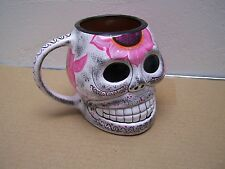 Larger Day of the Dead Painted Skull Mug, White with Pink Flower - Mexico