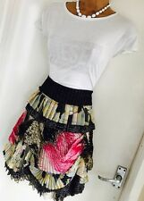 Stunning DIANE VON FURSTENBERG Colourful/ Layered/ Pleated Silk & Wool Skirt Uk8