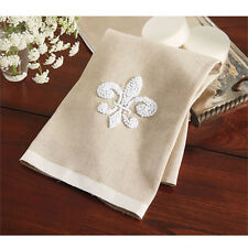 Mud Pie ML6 Kitchen Fleur De Lis Linen Tea Towel w/ French Knot 4405157