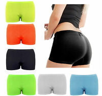 NEW LADIES WOMEN GIRLS NEON LYCRA STRETCHY SEXY HOT PANTS SHORTS DANCE GYM PARTY