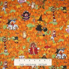 Halloween Fabric - Suzy's Pumpkin Patch Duck & Animals Allover - Hoffman YARD