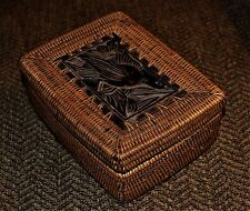 VTG Pine Needle Lidded Box Mahogany Carved Duck Goose Waterfowl MINT Condition