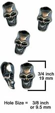 3 Pack Metal Skull Beads Vertical Hole for Craft Projects Paracord Accessories