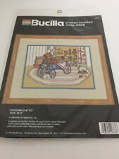1989 Bucilla Attic Teddy Bears, Toys & Quilts Printed Cross Stitch Kit NIP 9x12""