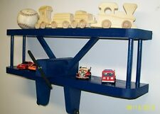 "BLUE Airplane Wall Shelf -18"" / Kids / Aviation 3D Wall Art / Baby Shower Gifts"
