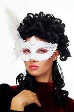 Karneval Venezianische Halb-Maske Damenmaske weiß Federn Society CMN-079
