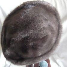 Vintage gris foncé/bleu vison femme chapeau belle brillance à la fourrure