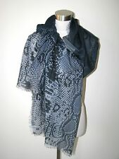 "NWT AUTHENT PYTHON JIMMY CHOO LONDON 26""X82"" WOOL/SILK BLUE SCARF/SHAWL Italy"