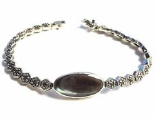 ABALONE SHELL Oval Stone BRACELET .925 Marcasite STERLING SILVER (7.5 inch)