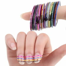 30 Pcs Mixed Colors Rolls Striping Tape Line Nail Art Tips Decoration Sticker BU