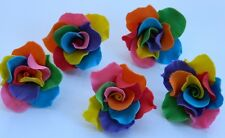 12 edible RAINBOW ROSES 5cm cake decorations CUPCAKE TOPPER wedding christening