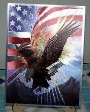 Alubild Alu-Bild : Adler Weißkopfadler ü.d.Bergen mit amerikanischer Flagge USA