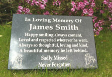 GRAVE PLAQUE, GRAVE MARKER,  MEMORIAL STONE,   PERSONALISED   FREE POSTAGE