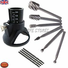 6xHSS Wood Milling Burrs +1Drill Carving Rotary Locator Set+Drill Bit,For Dremel