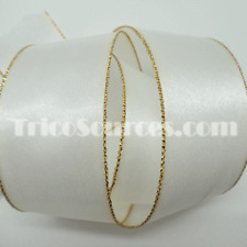 """Baby Ribbon Wide Satin Ribbon Gold Edge Double Faced 1.5""""(38mm)x25YDS - B4013"""