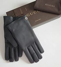 NWT Auth GUCCI Black Leather CASHMERE Lined INTERLOCKING G Detail Gloves 9.5