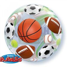 "5 PACK Qualatex 22"" Stretchy ROUND Bubble SPORTS Balloon BIRTHDAY PARTY!"