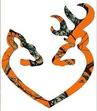 Browning Style Orange Camo Buck and Doe Heart Sticker Decal